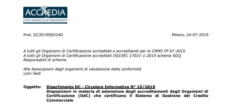 EFRMS - Addendum CRMS FP 07:2015 riconosciuto da ACCREDIA