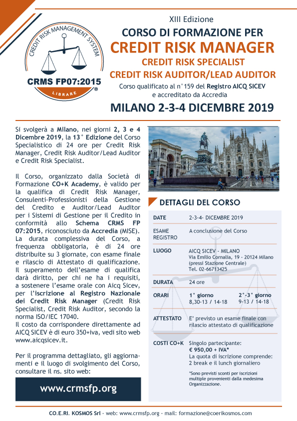 Corsi Credit Manager 2019