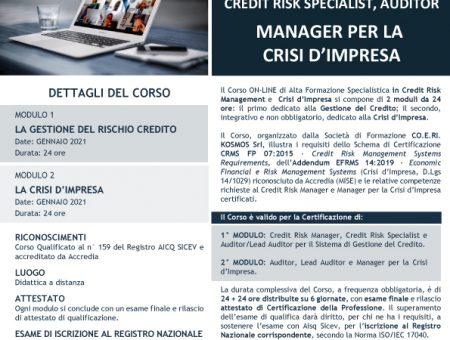 Gennaio 2021, nuova edizione del Corso di Alta Formazione Specialistica on-line per Credit Risk Manager e Manager la Crisi d'Impresa