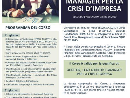 Marzo 2021: Corso  di Alta Formazione Specialistica on-line per Manager per la Crisi d'Impresa