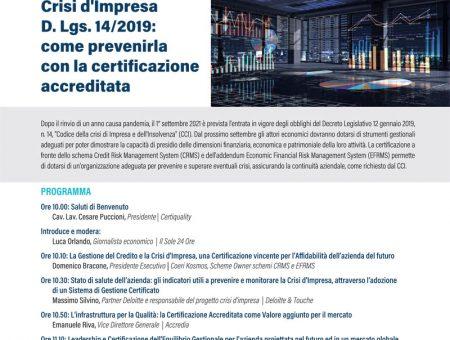 15 Giugno 2021 WEBINAR sulla Crisi d'Impresa e la Certificazione con Certiquality e Deloitte