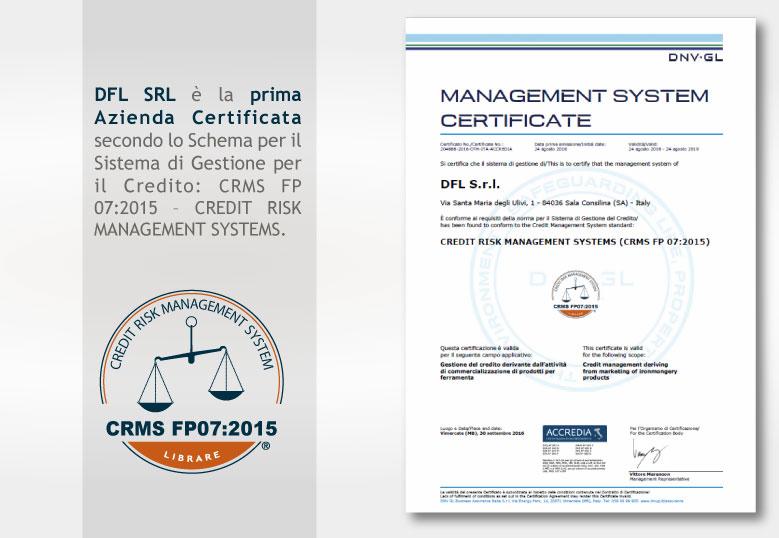 DFL prima certificazione CRMS