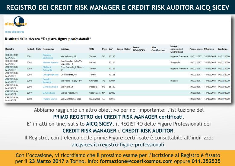 REGISTRO DEI CREDIT RISK MANAGER