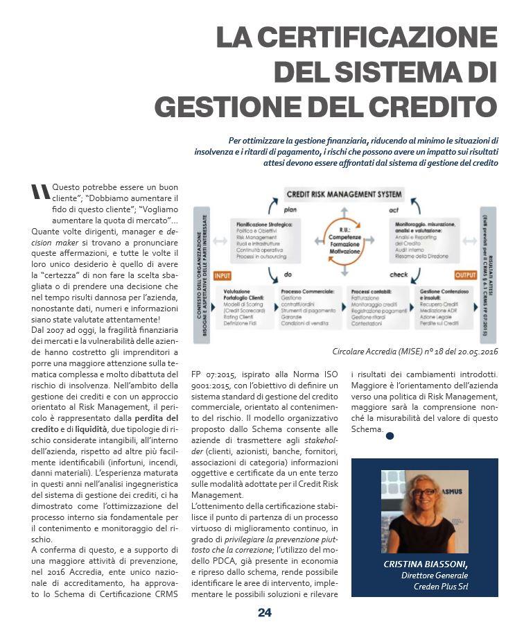 Certificazione del Sistema di Gestione del Credito – L'articolo di Cristina Biassoni per ANRA