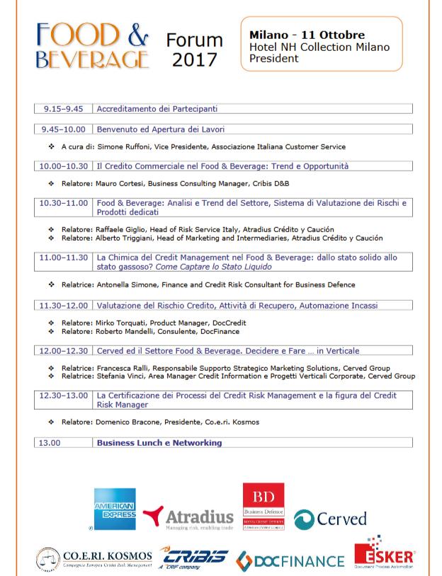 Food & Beverage Forum - Milano 2017