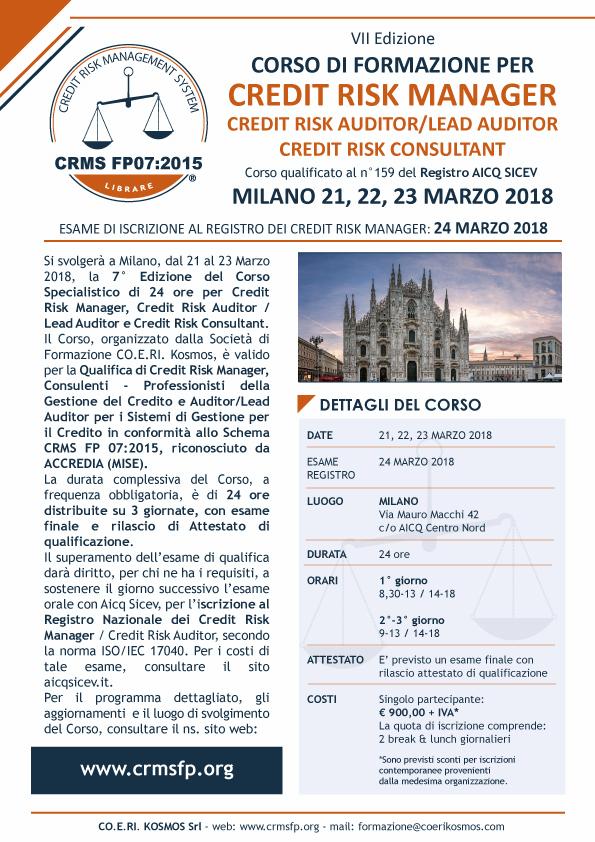 corso credit manager milano 2018