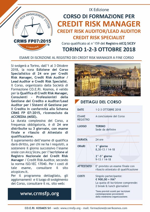corsi credit manager torino 2018