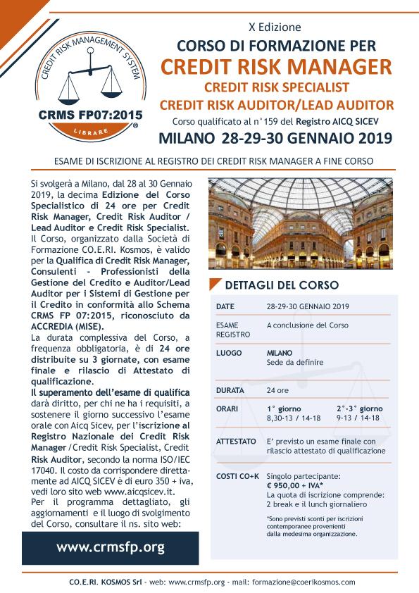 Corso credit manager milano 2019
