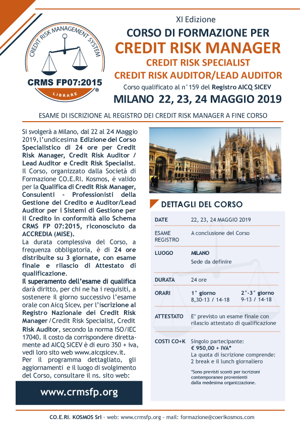 Corso Formazione Credit Manager 2019