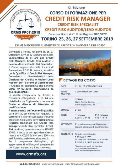 Corso Formazione Credit Manager TORINO 25-27 Settembre 2019
