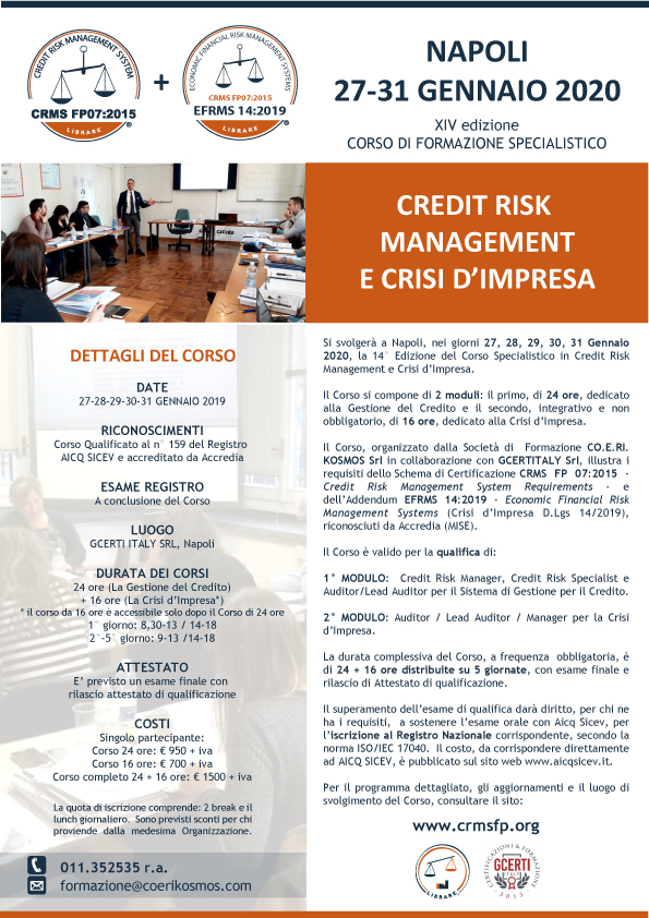 Corso Credit Risk Management e Crisi Impresa