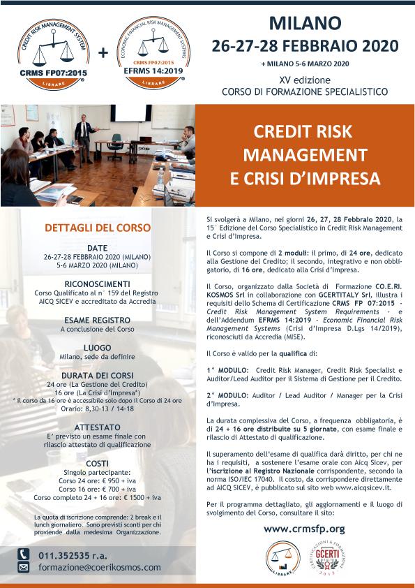Corso Credit Risk Management e Crisi Impresa