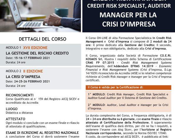 Corso di alta formazione in Credit Risk Management e crisi d'impresa - Febbraio 2021 - ONLINE
