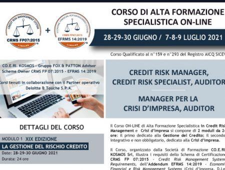 Giugno-Luglio 2021, nuovo Corso di Alta Formazione in Credit Risk Management e Crisi d'Impresa