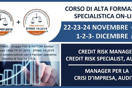 Novembre 2021, nuova edizione del Corso di Alta Formazione in Credit Risk Management e Crisi d'Impresa